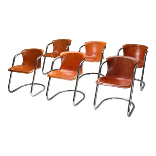 1970s Willy Rizzo Tan Leather Chairs for Cidue - Set of 6 For Sale