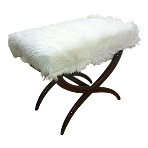 Jean Royere Goat Hair X-Shaped Stool For Sale