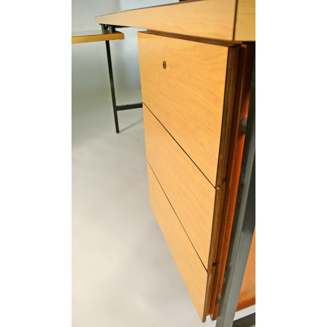 Caning Early Florence Knoll Desk and Return For Sale - Image 7 of 10