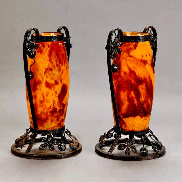 Art Deco Pair French Tall Signed Delatte Nancy Art Glass and Iron Vases For Sale - Image 3 of 8
