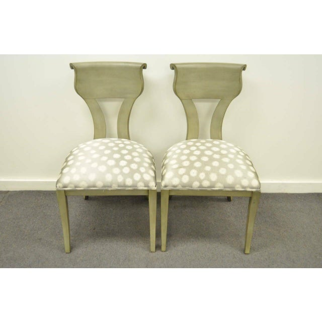 1960s Vintage eHollywood Regency Klismos Neoclassical Style Grey Painted Side Chairs- A Pair For Sale - Image 10 of 10