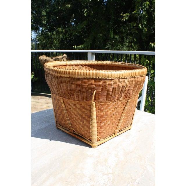 Large Vintage Woven Basket Planter For Sale - Image 10 of 13