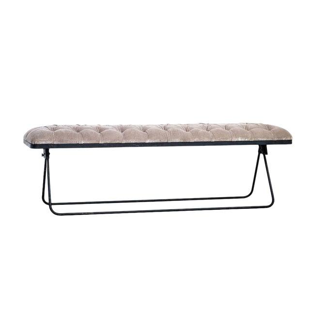 Classic Velvet Fabric Bench For Sale