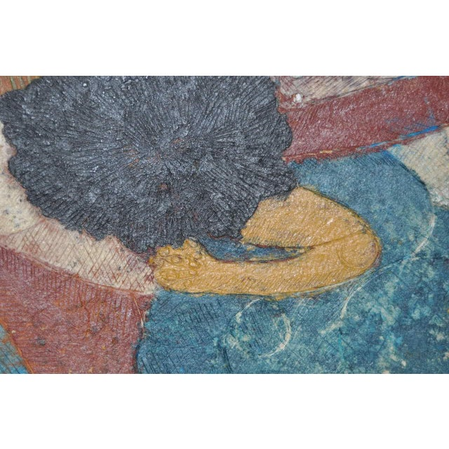 "Circa 1964 Vintage ""Combing Hair"" Haitian Painting - Image 5 of 8"