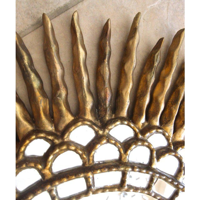 Gold 1970s Spanish Colonial Sunburst Oval Giltwood Wall Mirror For Sale - Image 8 of 11