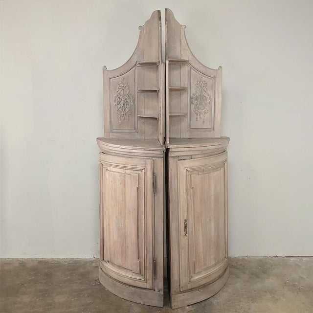 Pair 19th Century Country French Stripped Oak Corner Cabinets For Sale - Image 4 of 13