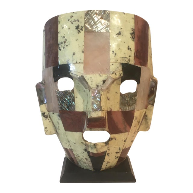 Mid-Century Handmade Mother of Pearl Mask For Sale