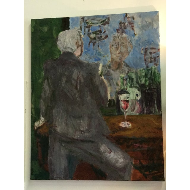 """Large Impressionist figural oil on canvas of a Man at a bar. """"Homme Oui Bar"""". Beautiful greens, grays and blues throught..."""