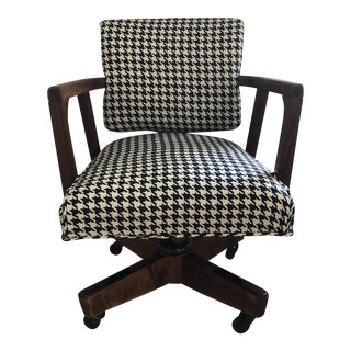 1960s Mid Century Teak Rolling Office Chair For Sale