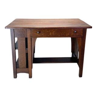 Antique Limbert Mission Quarter Sawn White Oak Writing Desk For Sale