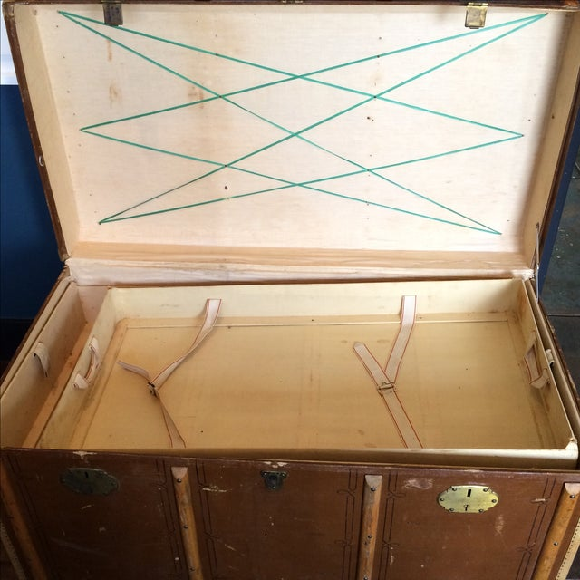 Brown Leather Steamer Trunk by Albert Rosenhain For Sale - Image 8 of 11