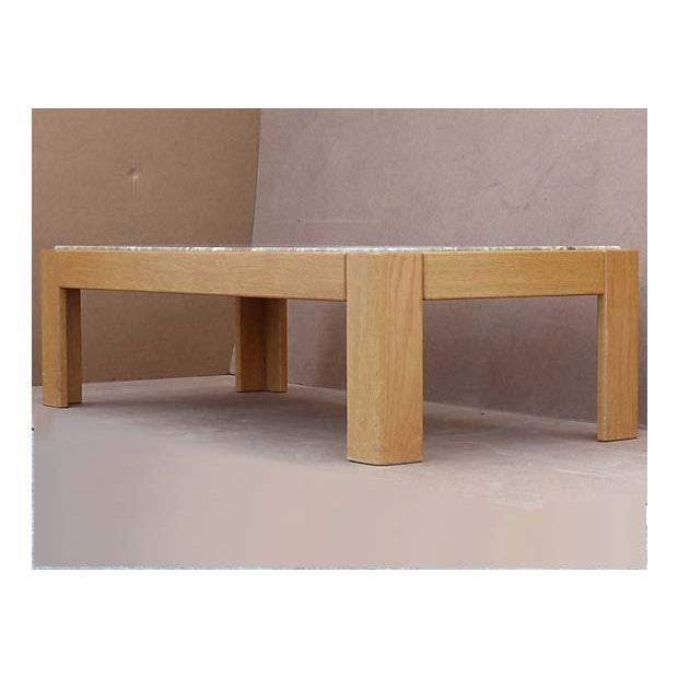 Brown Knoll Beechwood and Marble Coffee Table For Sale - Image 8 of 10