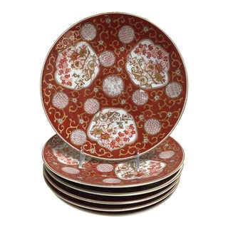 1960s Red/Gold Chinoiserie Dinner Plate - Set of 6 For Sale