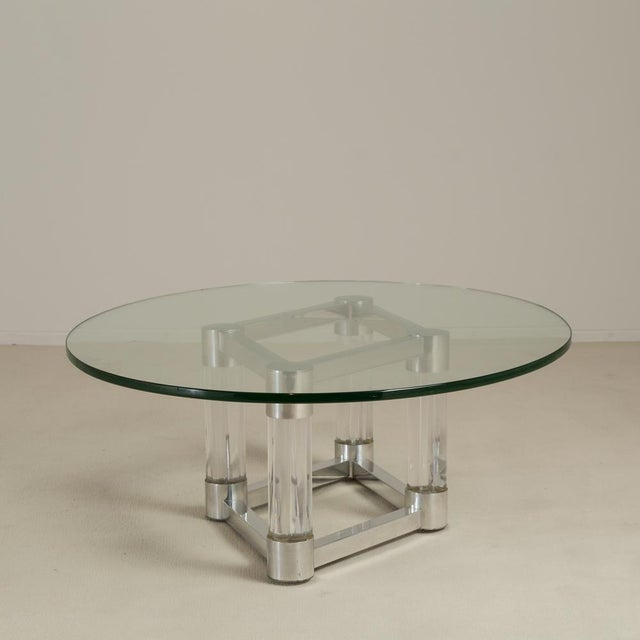 1970s Chunky Lucite and Aluminium Coffee Table 1970s For Sale - Image 5 of 6