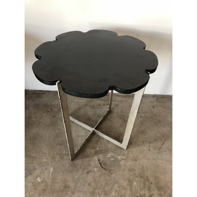 Black Granite With Silver Leaf Iron Base Side Table For Sale - Image 4 of 4