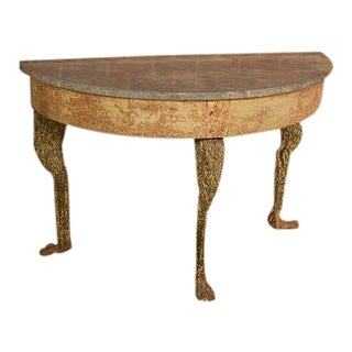 Swedish Marble Top Console Table With Carved Legs For Sale