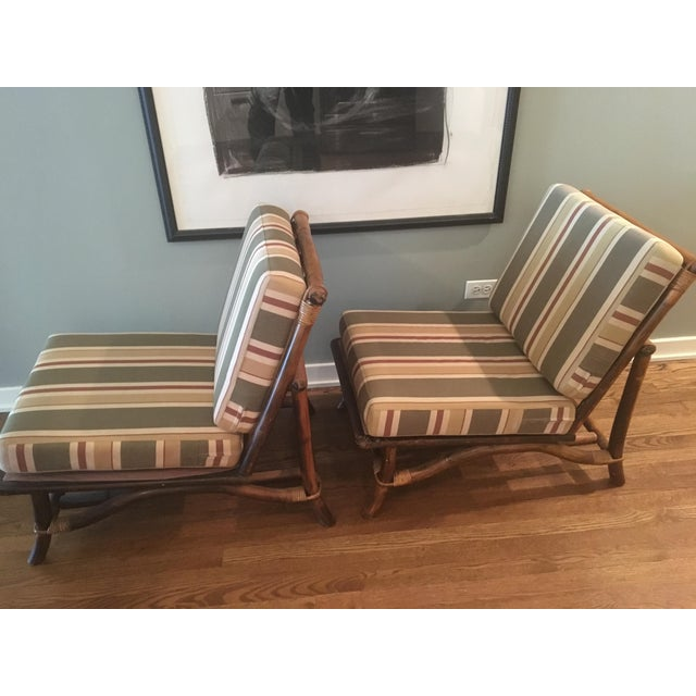 Ficks Reed Co. Bamboo & Rattan Slipper Chairs - a Pair For Sale In Chicago - Image 6 of 11