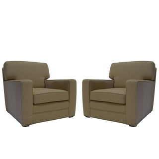 Handsome Pair of Newly Upholstered Art Deco Modernage Lounge Chairs For Sale