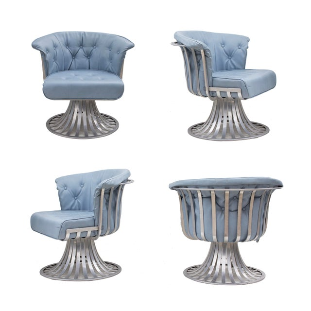 Lee L. Woodard & Sons Set of 4 Aluminum Tulip Chairs by Russsell Woodard For Sale - Image 4 of 10