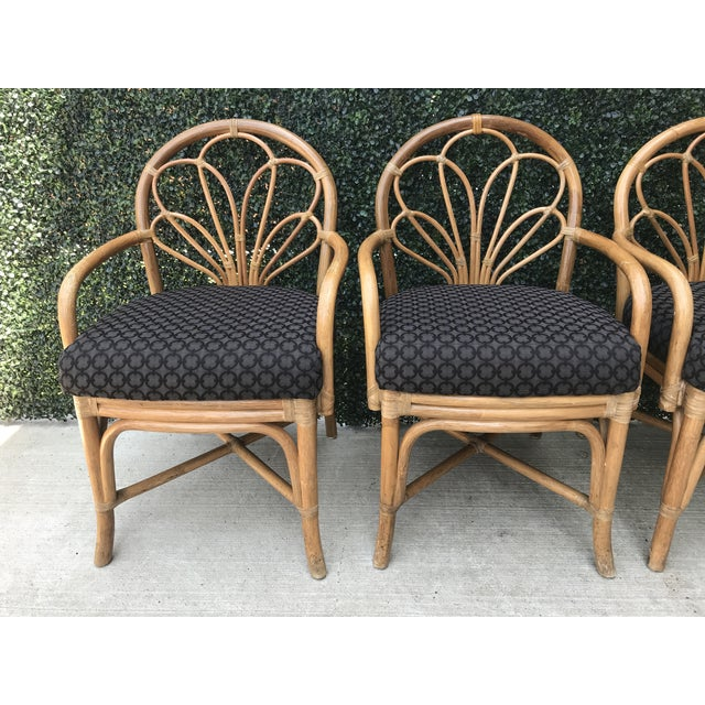 1970's Vintage Bent Bamboo Dining Upholstered Chairs - Set of 4 For Sale In New York - Image 6 of 11