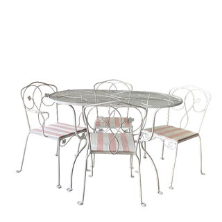 Wrought Iron Outdoor Table & 4 Chairs For Sale