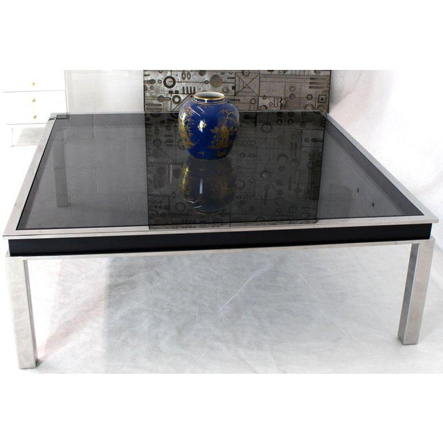 Black onyx glass top extra large 48 x 48 square polished stainless steel center coffee table.