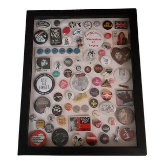 Rock and Roll Music Buttons & Pins Framed Black Wooden Shadowbox For Sale