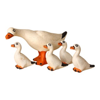 1940s Americana Paper Mache Flock of Ducks - 5 Pieces