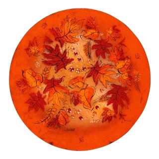 Sascha Brastoff Mid-Century Orange Leaves Enamel Charger For Sale