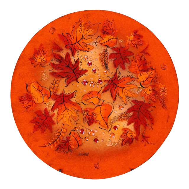 Sascha Brastoff Mid-Century Orange Leaves Enamel Charger - Image 1 of 11