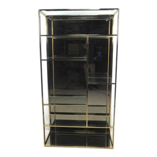 Vintage Modern Milo Baughman Style Brass Finish Etagere For Sale