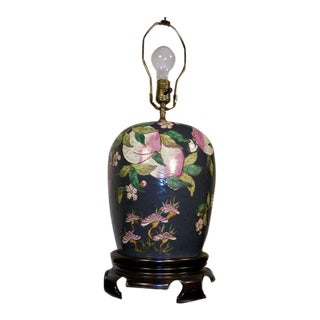 Chinese Famille Rose Porcelain Table Lamp With Peaches For Sale