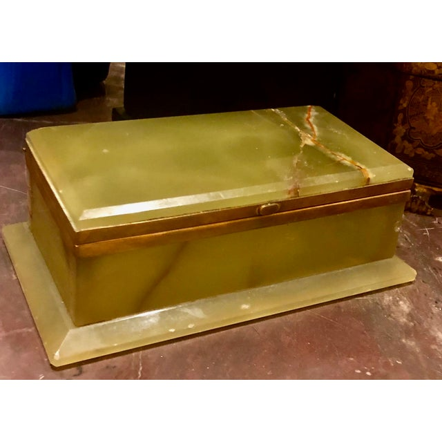 Large 1940s box made of onyx and very high-quality. It is actually a deep shade of green. The bronze work is highly refined.