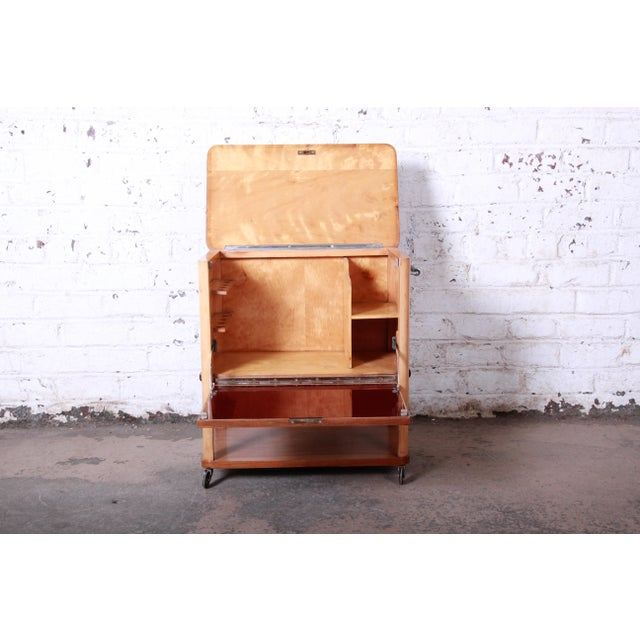 Burlwood 1930s Art Deco Burl Wood Rolling Bar Cart For Sale - Image 7 of 13