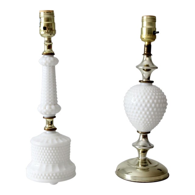 Vintage Milk Glass Hobnail Table Lamps - a Pair - Image 1 of 8