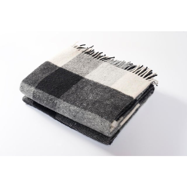 2010s Contemporary Black and Cream Checkered Throw For Sale - Image 5 of 5