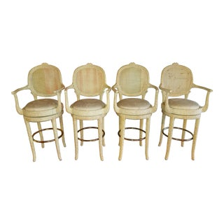 Vintage Faux Bois Branch Twig Style Barstools - Set of 4 For Sale