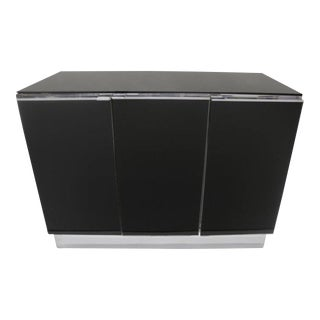 Little Chrome and Black Opaline Glass Credenza by Milo Baughman