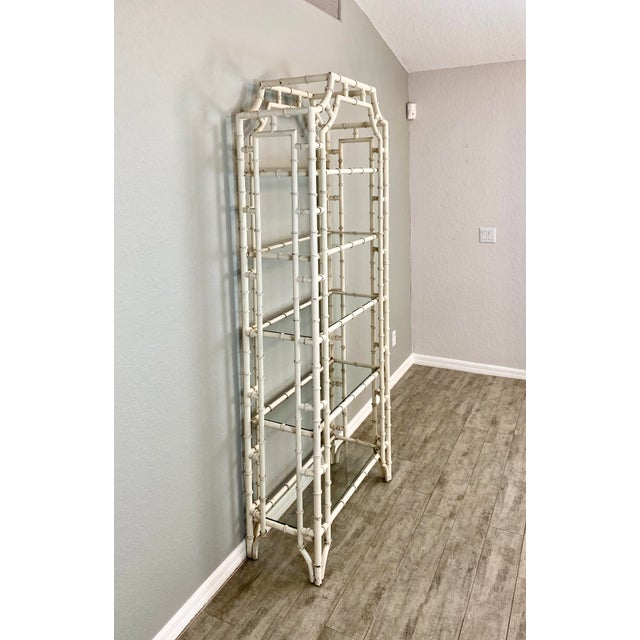 1950s Vintage Chippendale Faux Bamboo Iron Etagere For Sale - Image 5 of 6