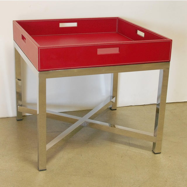 Red leather and stainless steel tray table designed by Fabio Bergomi for Fabio Ltd / Made in Italy 1 in stock in Palm...