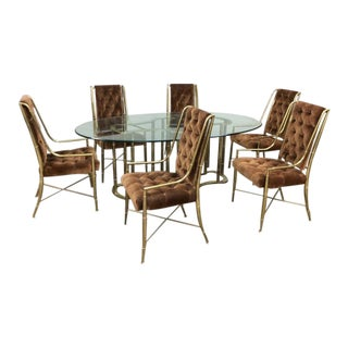 1970s Mastercraft Brass Faux Bamboo Imperial Chairs & Dining Table For Sale