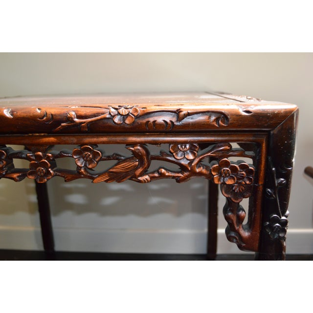 Chinese Asian Rosewood Lacquered Plum Blossom Design Bird Square Side Coffee Table Ming Style Handmade For Sale - Image 4 of 5