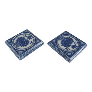 Blue & White Candle Holders-2 Pieces For Sale