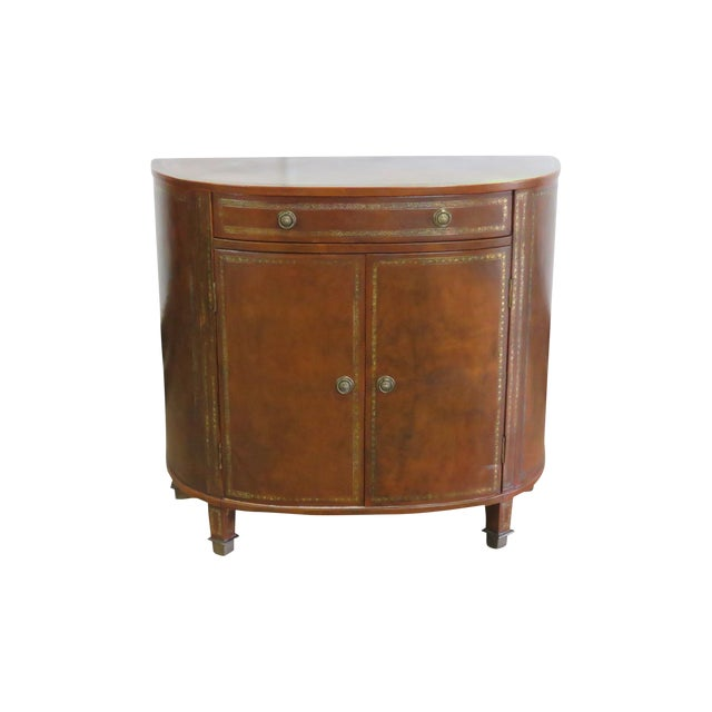 Mid Century Tooled Leather Demilune Commode For Sale