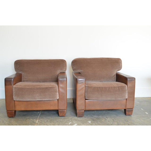 Pair of Vintage DeSede Leather and Mohair Club Chairs Model WK 612 for WK Wohnen by DeSede. Available for individual...