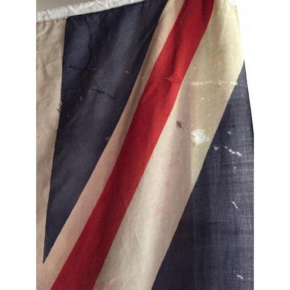 Mid Century Modern Union Jack Flag Distressed Uk British Flag 8 Ft For Sale - Image 4 of 9