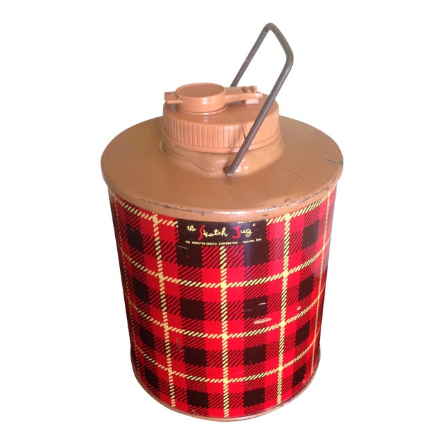 Vintage Plaid Metal Cooler Thermos - Image 1 of 11