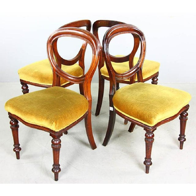 Late 19th Century 1970s Vintage Mahogany Yellow Velvet Louis XVI Victorian Side or Dining Chairs- Set of 4 For Sale - Image 5 of 11