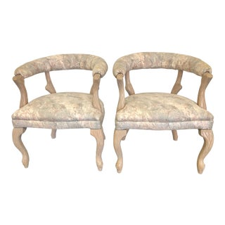 Late 20th Century Faux Bois Arm Chairs - Pair For Sale