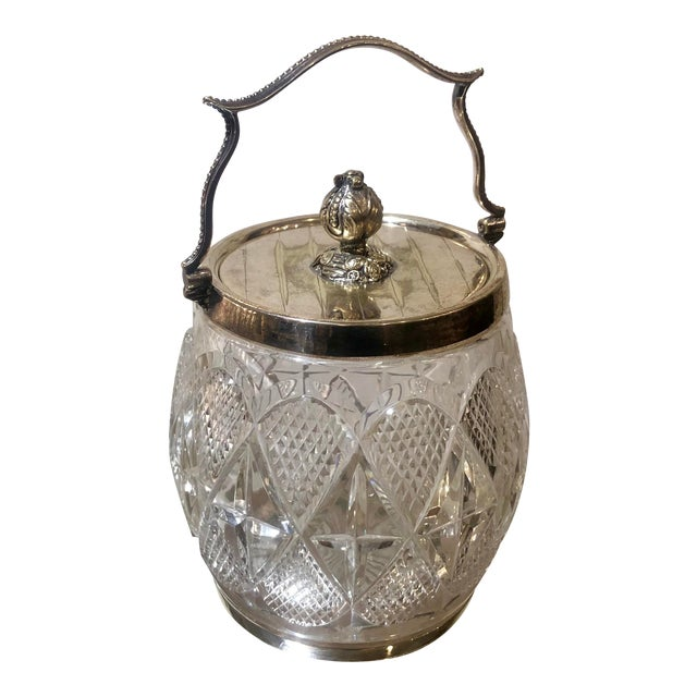 Gorgeous Antique Cut Crystal & Silver Plate English Biscuit Jar For Sale